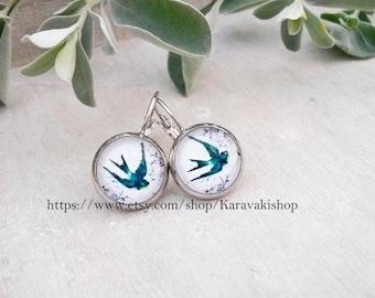 Silver drop swallow earrings -Bird earrings -Spring fashion accessories-Swallow jewelry -Swallows -Girlfriend gift -Mothers day gift