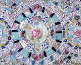 Pink Roses Broken China Mosaic Backsplash Panel - Free Shipping