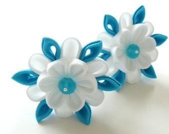 Kanzashi fabric flowers. Set of 2 ponytails . White and turquoise.