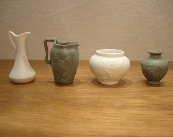 Vintage green and white porcelain miniatures for a dolls house, miniature vase, miniature jug, miniature planter and miniature ewer