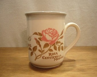 Vintage 1980s Staffordshire Pottery mug with roses design