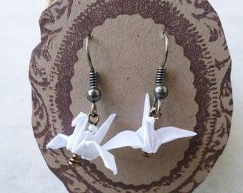 Vellum Origami Crane Earrings