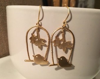 Yellow Gold Plated Bird Cage Earrings.