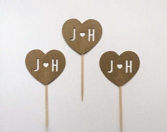 Custom initials heart cupcake topper - set of 12