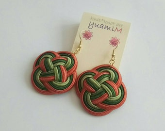 Double coin  knot earring orange&green