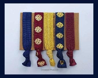 NEW 5pc COMPASS Hair Ties Set, NAVIGATE Yoga Bands, Hair Tie, Ponytail Accessory, Latitude, Longetude, Navigation, Coordinates, Navy, Maroon