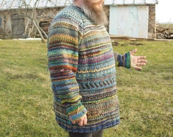 Handmade bright and colourful oversized sweater