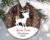 Personalized Kid's Christmas Ornament, Child ornament, Fawn Deer Personalized Christmas Ornament, Deer Ornament, Faux rustic Wood OR375