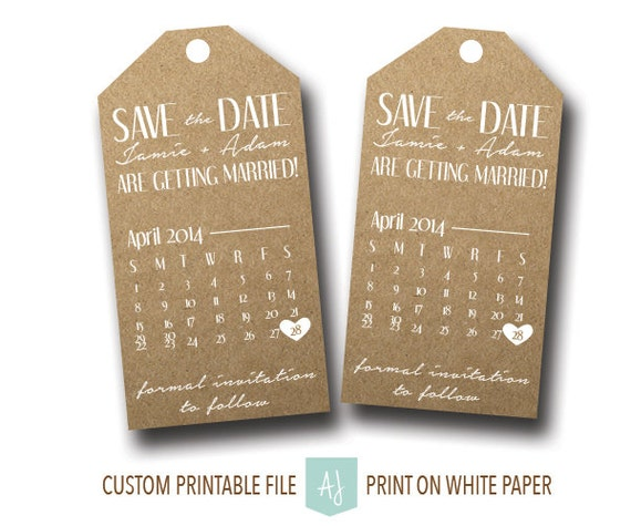 printable save the date tags rustic style with calendar for the