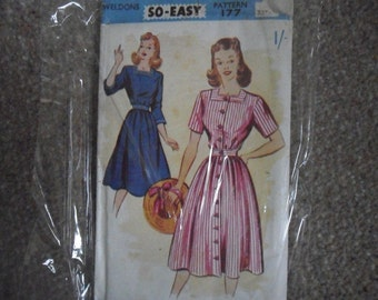 1940's Dress Sewing / Weldons 177 / Bust 32