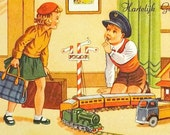 BRITHDAY POST CARD - little girl and boy, train railwaystation, retro postcard, cards postcards, fifties postals cards, congratulation card
