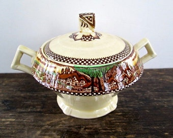 Vintage Mott English China Sugar Bowl