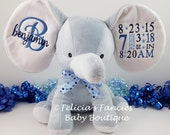 Dumble Elephant Baby Cubbies New Baby Birth Announcement Plush Stuffed Animal Keepsake, Blue, Pink, White, Grey, Lavender and Mint Green