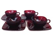 Vintage Anchor Hocking Ruby Red Cups and Saucers-Charm Pattern- Glass-Square Plates and Cups-1950's-Discontinued-Replacement-Fire King Glass