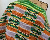 African KENTE Print Fabric--Orange, Green, Yellow, Brown Southwest Style Kente--Made in Holland--African Kente Print Fabric by the HALF YARD