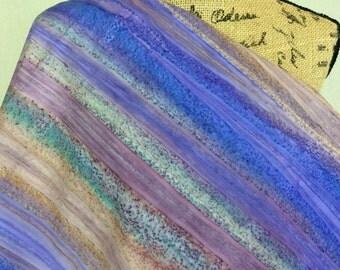 Hand Dyed Indonesian Batik Fabric--Made in Indonesian--Layered Mist--Purple/Blue/Green/Mocha Striped Tie Dye--Batik Fabric by the HALF YARD