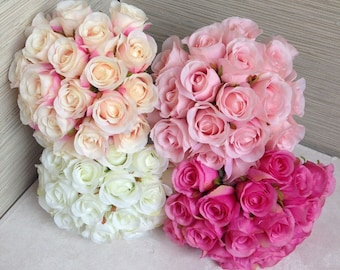 Silk Rose Bouquet For Bridesmaids Artificial Flower Bouquets Rose Buds Bouquet White, Champagne, Hot Pink Bouquet