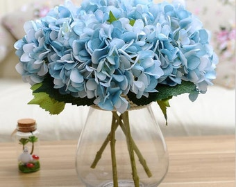 Light Blue Hydrangea Real Like Artificial Silk Hydrangea Flowers For Bridal Bouquet Wedding Centerpieces Flower Wall Wreath 10 Stems