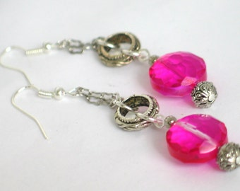 Pink Earrings, Chandelier Earrings, Hot Pink Earrings, Pink Chandelier Earrings, Silver Earrings, Mother's Day Gift, Earrings