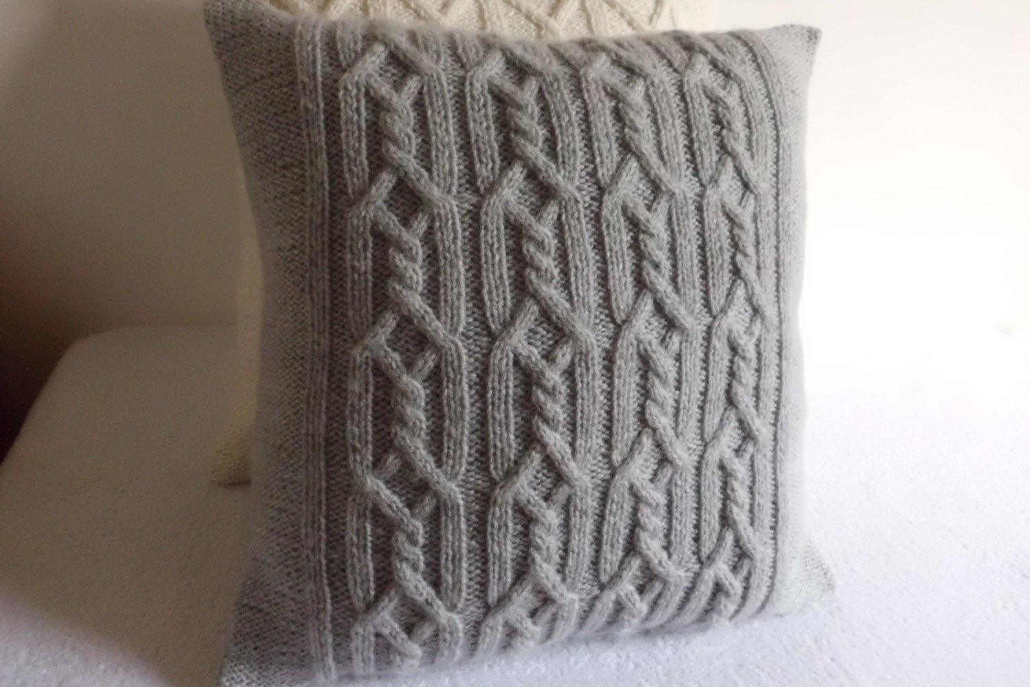 Grey Knit Throw Pillow : Gray Decorative Cable Knit Pillow Cover Throw Pillow Cover