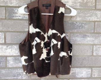 90s chocolate fuzzy cow vest