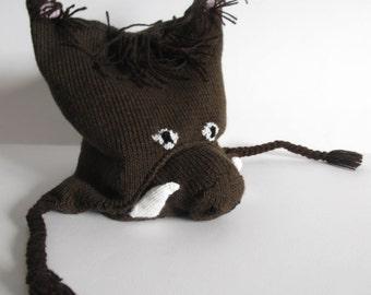 Wild boar knitted  ear flap hat