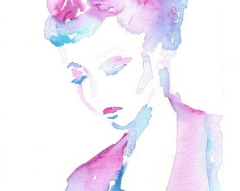"""ON SALE On Sale """"Lucille"""" by Jessica Buhman, Print of Original Watercolor Painting, 8 x 10 Green Blue Purple Pink Floral"""