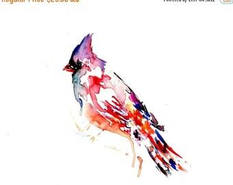 HUGE SALE Cardinal Watercolor Painting, Watercolor Print of Bird, Cardinal Painting, Cardinal Print, Abstract Bird Painting, Red Bird Painti
