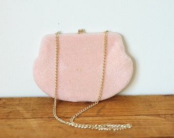Pink Beaded Walborg Chain Handbag/ Vintage Baby Pink 1950s Bead Kisslock Clutch Evening Bag/ Small Chain Bag 0227