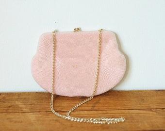 Pink Beaded Walborg Chain Handbag/ Vintage Baby Pink 1950s Bead Kisslock Clutch Evening Bag/ Small Chain Bag