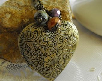 Heart Locket  Necklace, Love, Mom, Mother's Day, Earthy Czech Glass Beads,  Antique Brass, Romantic Locket,Long Locket Necklace