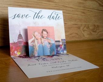 Washington DC Skyline Pop-up // Save the Date // Photo Save the Date // Skyline Save the Date // Pop Up Save the Date