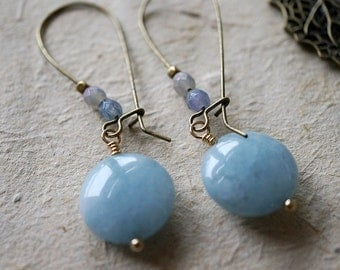 Light Blue Chalcedony Extra Smooth Coin & Periwinkle Rondelles, Vintage Gypsy Earrings, Boho Gift For Her, Earrings
