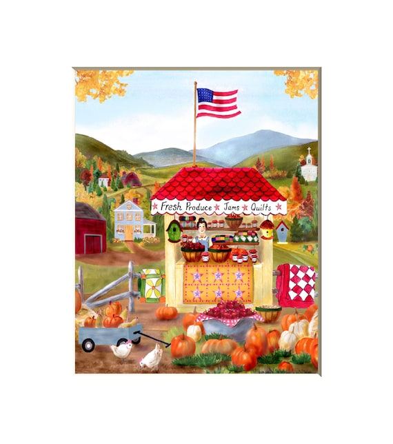 Folk art farm, folk art prints, kitchen primitive art, folk art scenes, country decor, farm picture, patriotic art,8x10 print