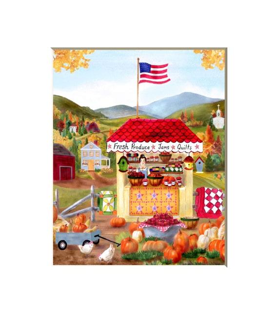 Kitchen Folk Art: Items Similar To Folk Art Farm, Folk Art Prints, Kitchen