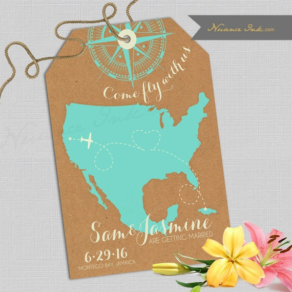 Come Fly Away Wedding Save the Date Cards, destination wedding, any location,any color scheme, cabo, hawaii, cozumel, las vegas, napa valley