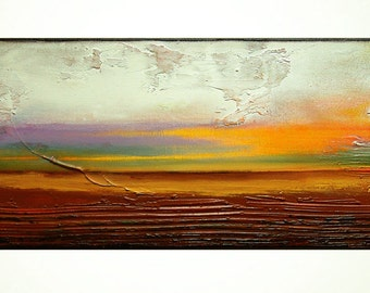 "Abstract Painting,Original Acrylic Painting,  Landscape Art, Modern Wall Art by M.Schöneberg  ""Sunset"" 12 x 32 x 0.75"