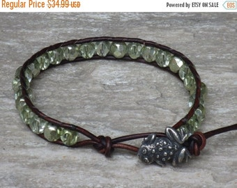 ON SALE Boho Chic Czech Glass Beads with Silver Frog  Button Leather Wrap Bracelet