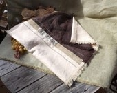 I run the way 100% Linen Cream and Brown Shawl with Embroidery, Decorative Stitch and Matching Ribbon
