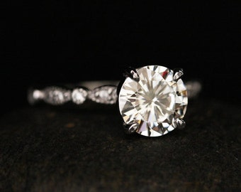 Moissanite Round Engagement Ring with 8mm Classic Moissanite and Diamond Milgrain Band in 14k White Gold