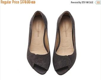 SUMMER SALE Aya peep toes mud brown  flats / handmade leather open toe sandals by tamarshalem