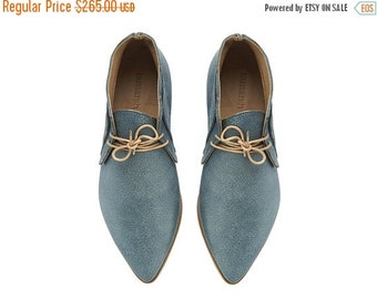 BOOTS SALE Chukka Boots, Nika, Denim, Leather shoes, handmade, flats, Light Blue leather shoes, by Tamar Shalem on etsy