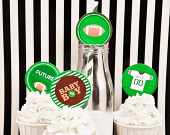 "Football Baby Shower, Cupcake Toppers, 2"" Party Circles, Sports Baby Shower, Boy Baby Shower, INSTANT DOWNLOAD, #S2"