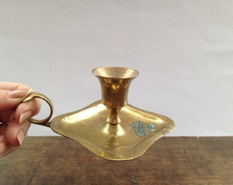Swedish vintage Brass candle holder Holiday candle holder Made in India