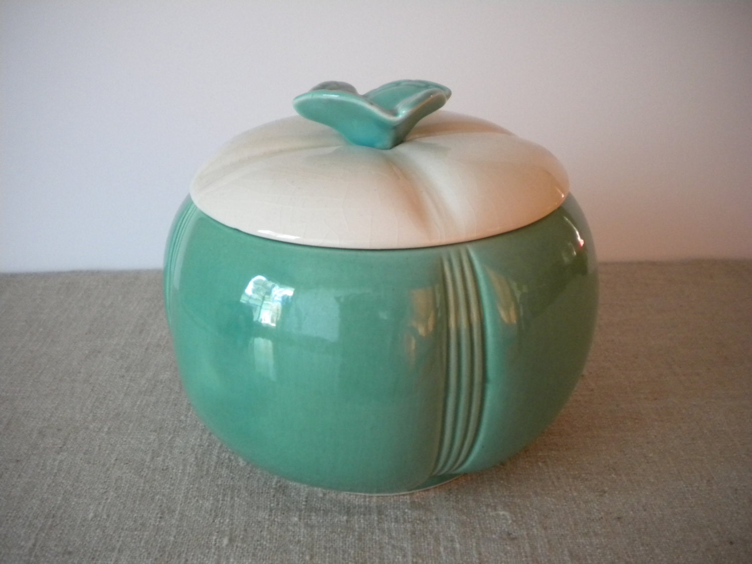 Vintage Cookie Jar Aqua Turquoise Blue Amp White 1950 S