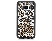 Samsung Galaxy S7 Case Animal Print Leopard Faux Leather Ultra Slim TPU Full Cover Case Brown