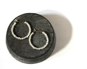 Tiny Seed Pearl Hoop Earrings, Beaded Gold Earrings, June Birthstone Jewelry, 14K Gold Fill