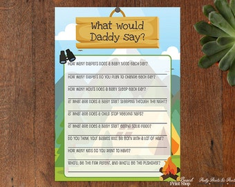 Camping Baby Shower Printable Game What Would Daddy Say