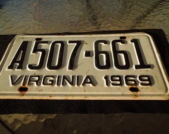 Vintage Tag Plates, Virginia 1969 License Plate