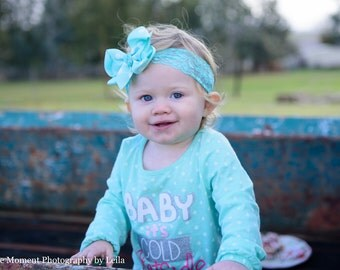 Baby Bow Headband.Baby Lace Headband.Infant Lace Headband.Newborn Lace Headband.Baby Girl Headband.Baby Bow.Polka Dot.Aqua Bow.Aqua Headband